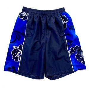 Men's Dark Blue Hawaiian Speedo Swim Trunks